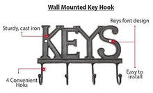 Key Holder - Keys - Wall Mounted Key Hook - Rustic Western Cast Iron Key Hanger - Decorative Key Organizer Rack with 4 Hooks - With Screws and Anchors - 6x8 inches - by Comfify