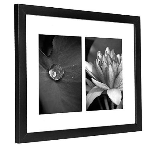 11x14 Collage Picture Frame - Displays Two 5x7 inch Portrait Pictures - White Mat - Multiple Picture Frame