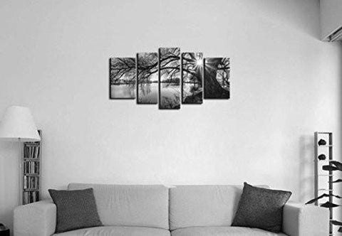 Image of 5 Pieces Modern Canvas Painting Wall Art The Picture For Home Decoration Black And White Tree Silhouette In Sunrise Time Lake Landscape Print On Canvas Giclee Artwork For Wall Decor