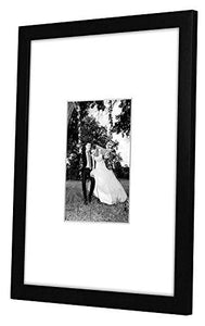 11x14 Black Wall Picture Frame - Matted to Fit Pictures 5x7 Inches or 11x14 Without Mat - Protective Glass Covering Front - zingydecor