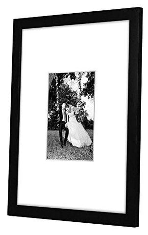11x14 Black Wall Picture Frame - Matted to Fit Pictures 5x7 Inches or 11x14 Without Mat - Protective Glass Covering Front