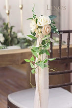 Load image into Gallery viewer, Ling's moment Wedding Aisle Decorations Flowers for Chairs Set of 8 Cream Blush Pew Flowers with Tails - zingydecor