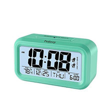 Load image into Gallery viewer, Peakeep Battery Digital Alarm Clock with 2 Alarms, Snooze, Optional Weekday Alarm and Sensor Light