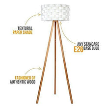 Load image into Gallery viewer, Brightech Bijou LED Tripod Floor Lamp Contemporary Design for Modern Living Rooms – Soft, Ambient Lighting, Tall Standing Easel Survey Lamp for Bedroom, Family Room, or Office - Natural Wood Color - zingydecor