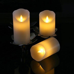 "Flameless Candles 4"" 5"" 6"" Set of 3 Ivory Dripless Real Wax Pillars Include Realistic Dancing LED Flames and 10-key Remote Control with 24-hour Timer Function-Antizer - zingydecor"