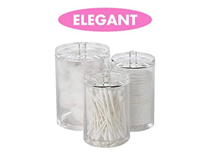 Cotton Ball, Swab, and Q-tip Storage Set, 1-Piece, 3-Compartments, for Easy Organization on Bathroom Counters, Under Sink Placement, or Vanity Tables - zingydecor