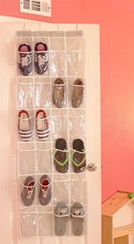24 Pockets - SimpleHouseware Crystal Clear Over the Door Hanging Shoe Organizer (64'' x 19'') - zingydecor