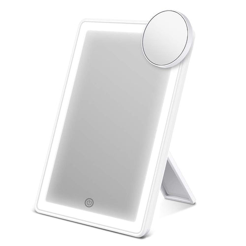 Makeup Mirror with Lights, Vanity Mirror with 72-LED Halo Lighting, Detachable 10× Magnification Mirror, Tricolor Lighting, Stepless Dimming, and Dual Power Options, Lighted Cosmetic Mirror