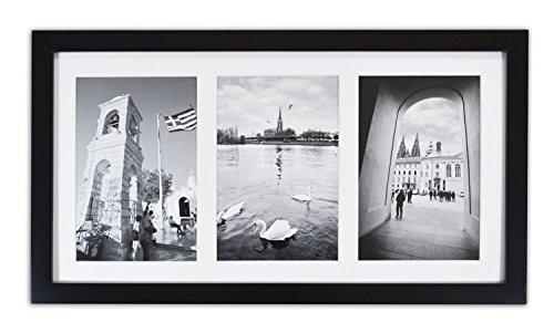 Golden State Art, 8.5x16.3 Black Photo Wood Collage Frame with REAL GLASS and White Mat displays (3) 5x7 pictures - zingydecor