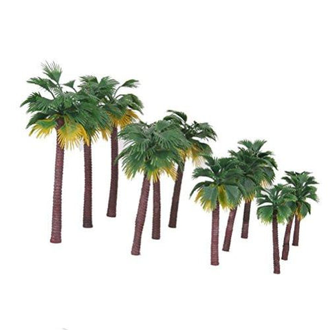 12pcs Plastic Artificial Trees Layout Rainforest Palm Tree Diorama Scenery