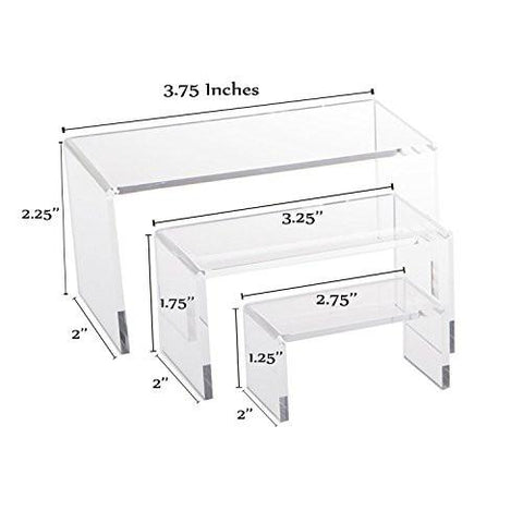 Image of Clear Acrylic Riser Set Small Showcase for Jewelry - zingydecor