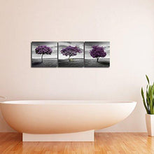 Load image into Gallery viewer, Pyradecor 3 Piece Purple Trees Modern Stretched and Framed Landscape Artwork Giclee Canvas Prints Fall Forest Pictures Paintings on Canvas Wall art for Living Room Bedroom Home Office Decorations - zingydecor