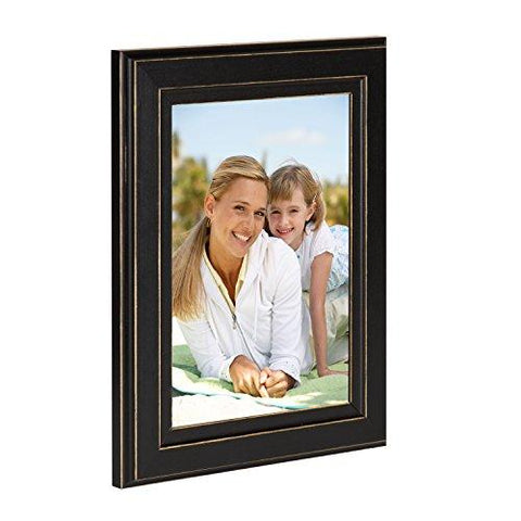 "Image of DesignOvation 209133 Kieva Solid Wood Distressed Picture Frame (Set of 6), 5 x 7"", Black"
