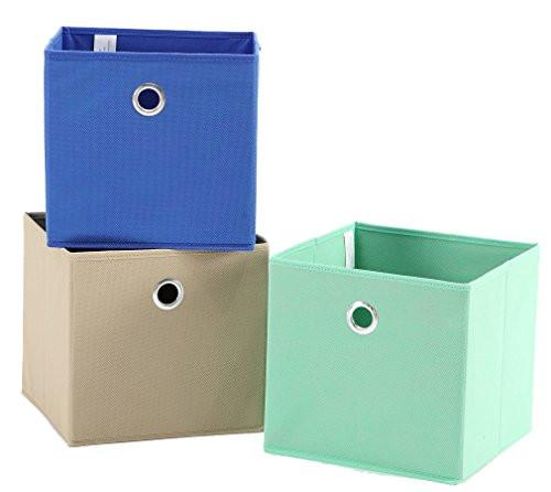 StorageManiac 3-Pack Foldable Fabric Storage Bins, Soft Storage Cubes in Aqua, Blue, and Brown - zingydecor