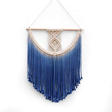BlueMake Macrame Wall Hanging Tapestry Hand Woven Pendant Decoration House Ceremony Living Room Home Furnishing Accessories (Blue)