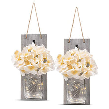 Load image into Gallery viewer, HOMKO Decorative Mason Jar Wall Decor - Rustic Wall Sconces with LED Fairy Lights and Flowers - Farmhouse Home Decor (Set of 2) - zingydecor