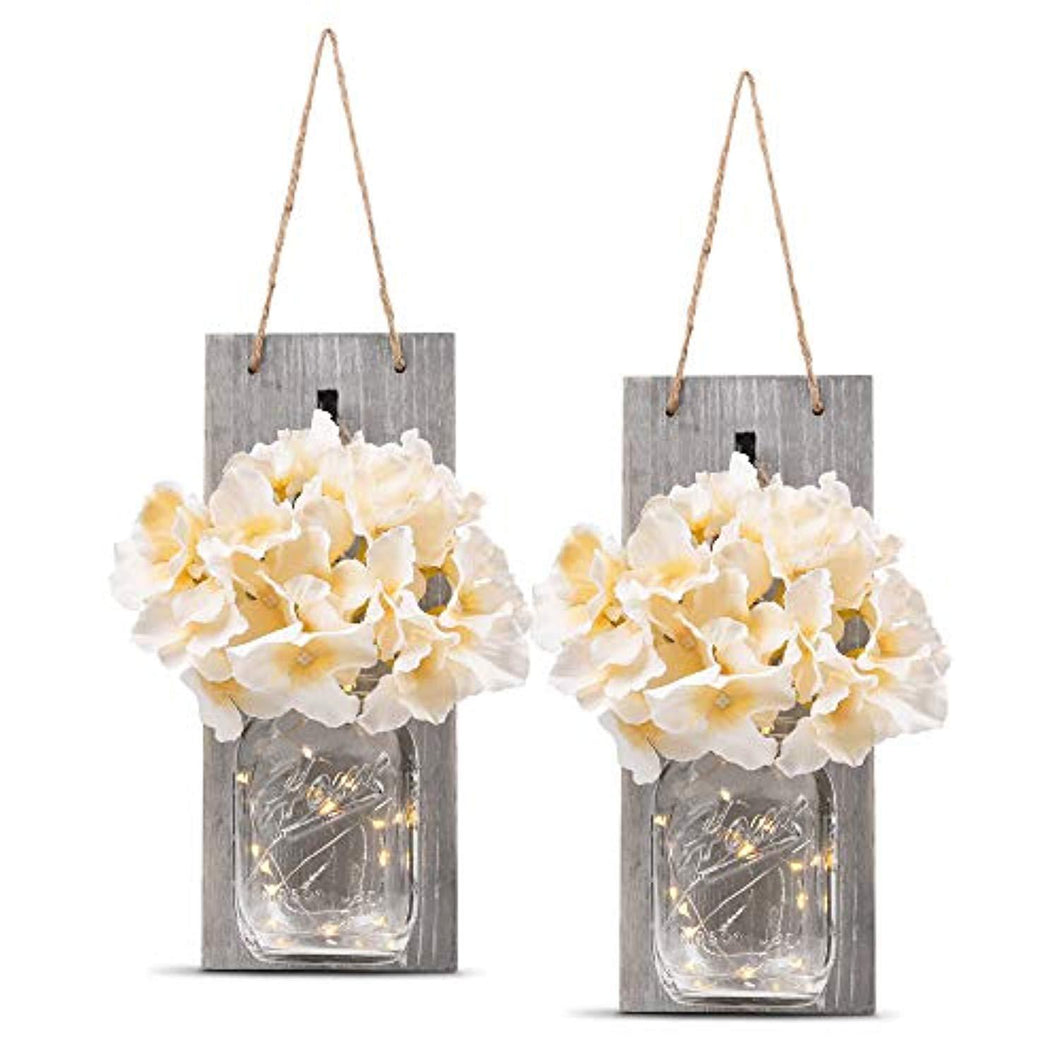 HOMKO Decorative Mason Jar Wall Decor - Rustic Wall Sconces with LED Fairy Lights and Flowers - Farmhouse Home Decor (Set of 2) - zingydecor