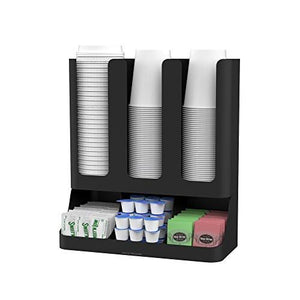 Mind Reader Flume' 6 Compartment Upright Coffee Condiment and Cups Organizer, Black - zingydecor