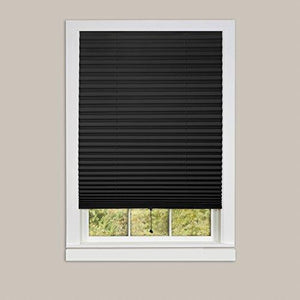 "Achim Home Furnishings 1-2-3 Vinyl Room Darkening Temporary Pleated Window Shade, 36"" by 75"", black, 36 X 75"""