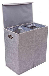 BirdRock Home Double Laundry Hamper with Lid and Removable Liners Linen Easily Transport... - zingydecor