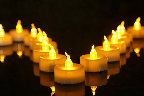 Pack of 24 Flameless LED Tea Light, Amber Yellow Flickering Bulb, Long Lasting Battery Operated Electric votive candle, Realistic and Bright Faux tealights Dia 1.4