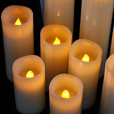 "Image of Flameless Candles, Battery Operated Candles Set 4"" 5"" 6"" 7"" 8"" 9"" Battery Candles Dancing Flame With Remote Timer By Comenzar (Ivory )"
