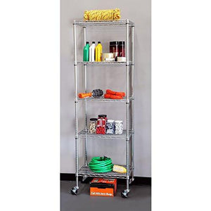 "Seville Classics 5-Tier UltraZinc NSF Steel Wire Shelving /w Wheels, 18"" D x 24"" W x 72""H - zingydecor"