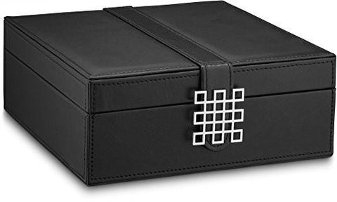 Image of Glenor Co Classic 50-Section Jewelry Box Earrings Organizer with Large Mirror, Black