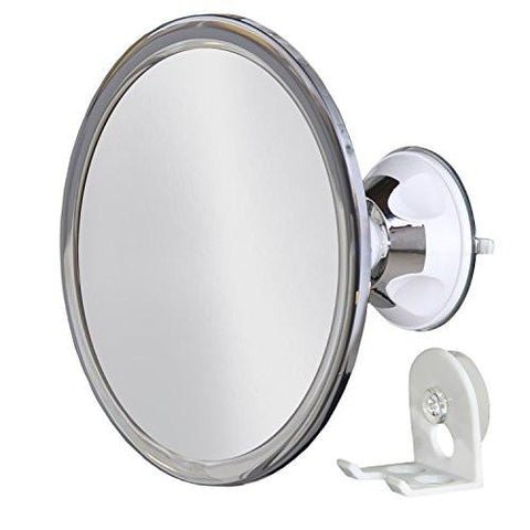 No Fog Shower Mirror with Rotating, Locking Suction; Bonus Separate Razor Holder, Adjustable Arm...