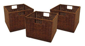 Winsome Wood Small Wired Rattan Baskets, Set of 3 - zingydecor