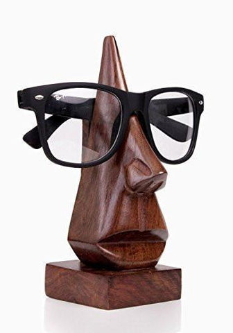 Image of Classic Hand Carved Rosewood Nose-shaped Eyeglass Spectacle/ Eyewear Holder - zingydecor