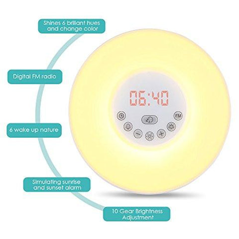 Image of INLIFE Wake Up Light Alarm Clock Sunrise Simulation Dusk Fading Night Light with Nature Sounds, FM Radio, Touch Control and USB Charger