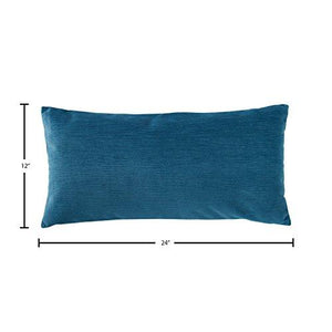 "Rivet Velvet Texture Pillow, 12"" x 24"", Azure - zingydecor"
