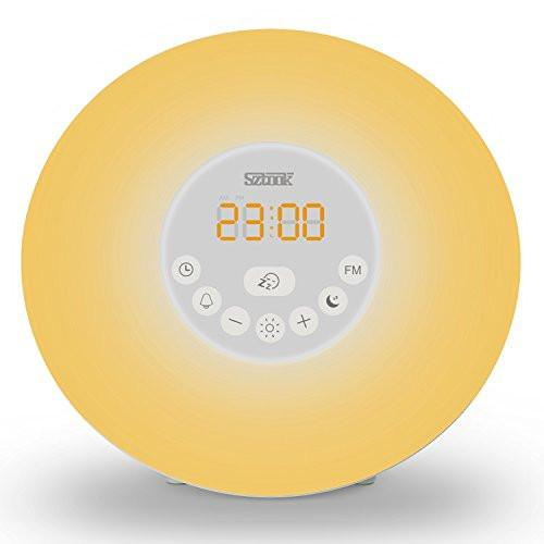Sunrise Alarm Clock,Sztook Wake Up Light,Nature Sounds,FM Radio,7 Colors Night Light,Smart Snooze Function,Touch Control with USB Charger - zingydecor