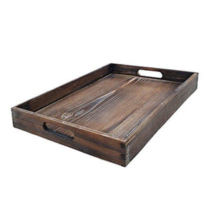 Dark Brown Wooden Serving Tray - Handles for Easy Carrying, Transform Your Ottoman into a Coffee Table, Rustic Look Matches Home Decor, Room to Set Down Plates and Drinks - zingydecor