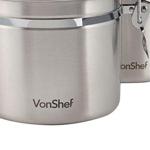 Vonshef Clip Top Jars 4 Piece Coffee Tea Storage Canister Set Stainless Steel Jars - zingydecor