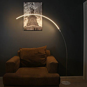 Brightech Sparq Arc LED Floor Lamp - Curved, Contemporary Minimalist Lighting –Glowing Warm White Light for Living Room, Bedroom, Dorm, or Office- Energy Efficient Dimmable Arched Floor Lamp – Silver - zingydecor