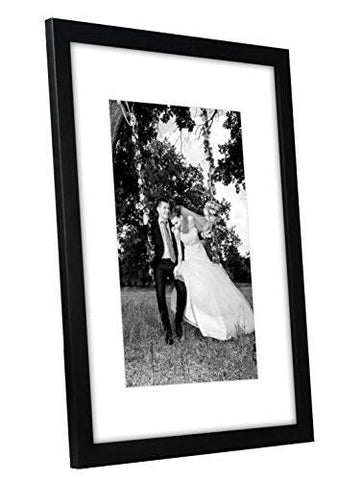 12x16 Black Picture Frame - Matted to Fit Pictures 8x12 Inches or 12x16 Without Mat - Glass Front - Hanging Hardware Included