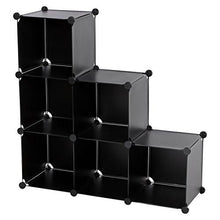 Load image into Gallery viewer, SONGMICS 3-Tier DIY Storage Cube Organizer Plastic Closet Shelf 6-Cube Bookcase Cabinet Black ULPC06H
