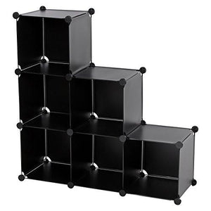 SONGMICS 3-Tier DIY Storage Cube Organizer Plastic Closet Shelf 6-Cube Bookcase Cabinet Black ULPC06H