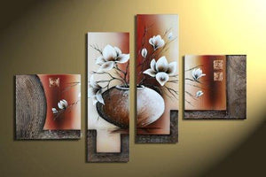 Wieco Art 4-Piece Elegant Flowers Stretched and Framed Hand-Painted Modern Canvas Wall Art - zingydecor