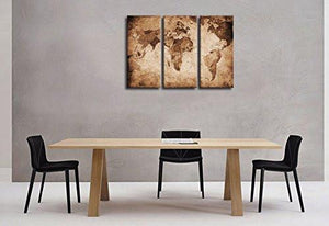 Wall Art Canvas Prints Vintage World Map Painting Ready to Hang - 3 Pieces Large Framed Canvas Art Retro Antiquated Map of the World Painting Abstract Picture Artwork for Home Office Decoration - zingydecor