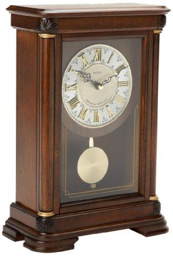 Seiko Mantel Chime with Pendulum Clock Brown Alder Case Ornamental Dial - zingydecor