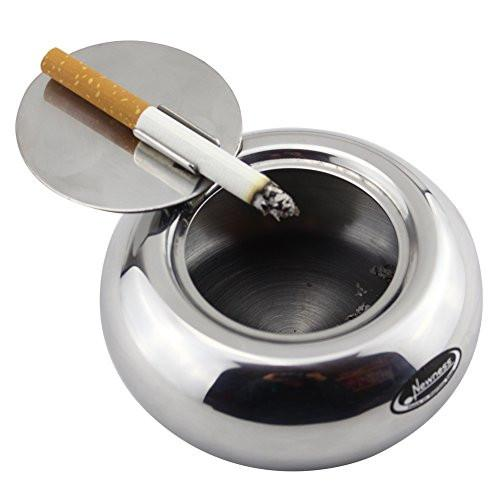 Ashtray, Newness Stainless Steel Modern Tabletop Ashtray with Lid, Cigarette Ashtray for Indoor or Outdoor Use, Ash Holder for Smokers, Desktop Smoking Ash Tray for Home office Decoration, Silver