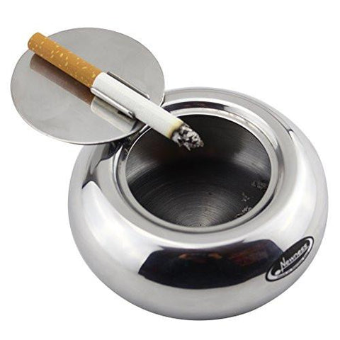 Image of Ashtray, Newness Stainless Steel Modern Tabletop Ashtray with Lid, Cigarette Ashtray for Indoor or Outdoor Use, Ash Holder for Smokers, Desktop Smoking Ash Tray for Home office Decoration, Silver
