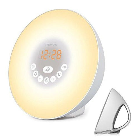 Image of Sunrise Alarm Clock, Digital Clock & Wake Up Light with 6 Nature Sounds, FM Radio, Touch Control and USB Charger, Sunrise Simulator Alarm Clock
