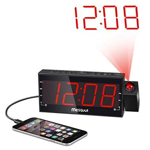 "Mesqool AM/FM Digital Dimmable Projection Alarm Clock Radio with 1.8"" LED Display, USB Charging, Dual Alarm, Battery Backup - zingydecor"