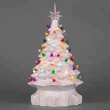 Load image into Gallery viewer, 15in Ceramic Pre-Lit Hand-Painted Tabletop Christmas Tree Holiday Decor with 64 Multicolored Lights, 2 Star Toppers, Green - zingydecor