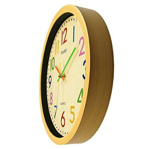 Foxtop 12.5 Inch Silent Non-ticking Colorful Wall Clock Large Decorative Vintage Timer Round Country-Style Plastic Imitation-Wood Clocks (Yellow) - zingydecor