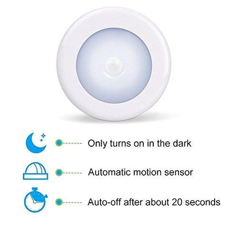 Image of AMIR Motion Sensor Light, Cordless Battery-Powered LED Night Light, Stick-anywhere Closet Lights Stair Lights, Safe Lights for Hallway, Bathroom, Bedroom, Kitchen, etc. (White - Pack of 3)